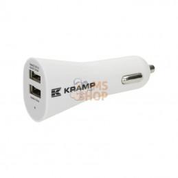 KRA00900019022; KRAMP; Adaptateur de voiture pôle double USB blanc; pièce detachée