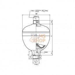 WA350207510E1A30; SAIP; Accumulateur 0,75 L p0=30 bar; pièce detachée